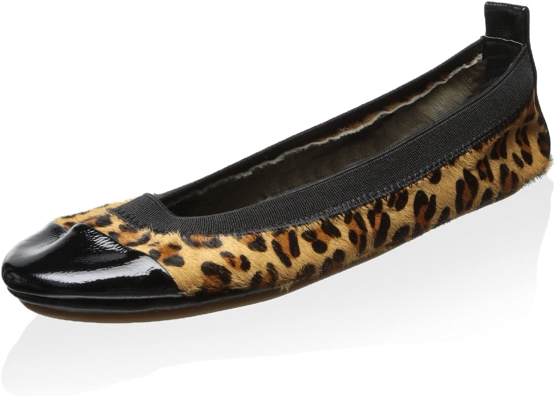 Yosi Samra Samara Two Tone Leopard Bendable Ballet Flat Size