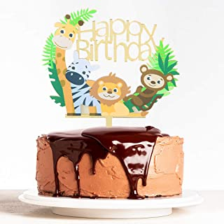 WeBenison Animal Theme Happy Birthday Cake Topper Baby Shower 1st Birthday Cake Topper Zoo Animals Kid's Birthday Party De...