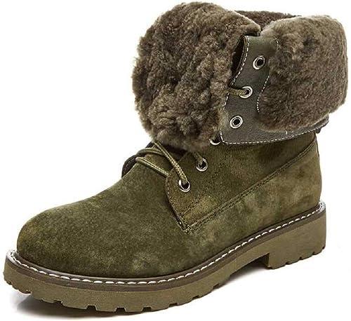 Gaslinyuan Bottes doublées en Fourrure, Chaussures en Cuir à Lacets pour Femmes (Couleuré   Vert, Taille   EU 39)
