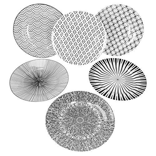 MamboCat Seoul 6er Speise-Teller-Set schwarz-weiß I modernes Design-Teller-Set für 6 Personen I extravagante Steingut-Teller mit Muster - robuste große Teller Ø 27 cm I Ess-Teller flach 6 Stück