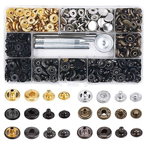 EuTengHao 150 juegos de herramientas de cierre a presión, botones de metal, remaches de presión, remaches de presión, de 12,5 mm y 10 mm, kit de herramientas de cierre a presión de piel