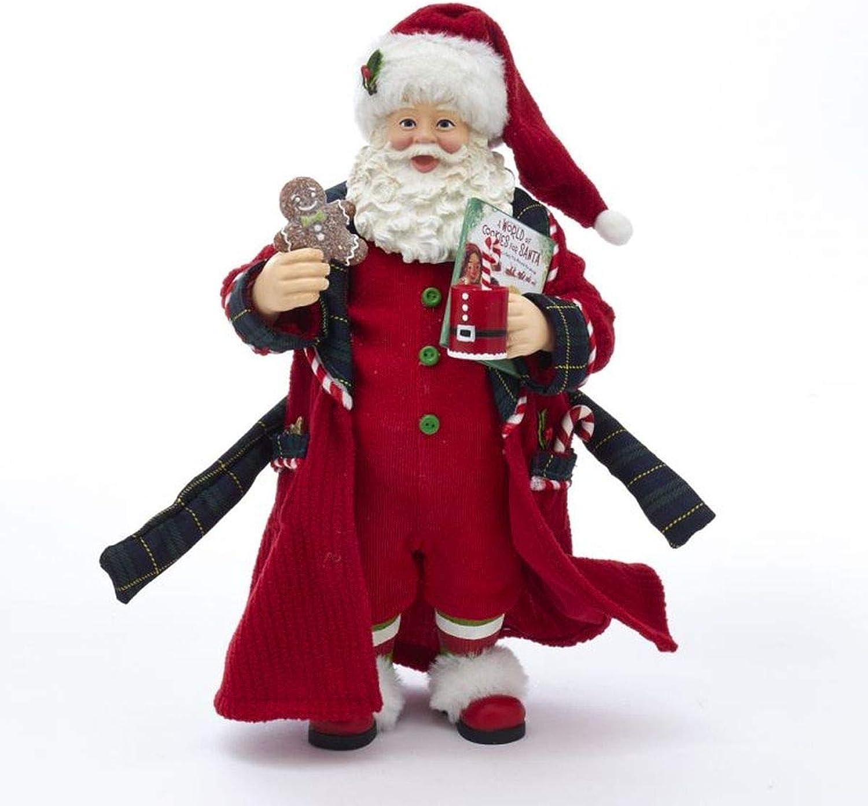Kurt Adler Kurt S. Adler 12-Inch Fabriché Pajamas and Nightrobe Santa, Multi