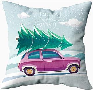 Ducan Lincoln Pillow Case 2PC 18X18,Fundas De Almohada De Cama,Fundas De Almohada De Coche Funda De Almohada Suave De Techo De Árbol De Navidad para Coche,Fundas De Almohada De Navidad,Verde Púrpura