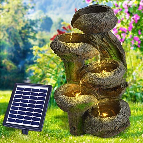 Solar Gartenbrunnen Brunnen Solarbrunnen Zierbrunnen Wasserfall Gartenleuchte Teichpumpe für Terrasse, Balkon, mit Pumpen-instant-Start-Funktion mit Liion-Akku & Led-Licht (BAUMSTUMPF & STEINSCHALEN)