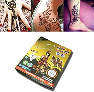 Prettywan Temporary Tattoo Cones, 12Pcs Paste Cones Black Body Art Painting Drawing