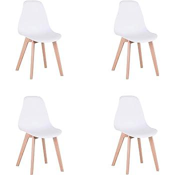 GrandCA Home Pack de 4 sillas Comedor, sillas de diseño nórdico con Patas en Madera Maciza, sillas para Sala de Estar, Cocina, Oficina (Blanco)