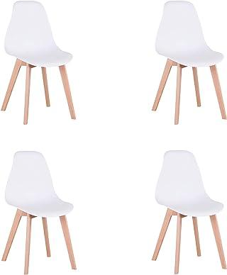 N / A Pack de 4 sillas Comedor, sillas de diseño nórdico con Patas en Madera Maciza, sillas para Sala de Estar, Cocina, Oficina (Blanco)