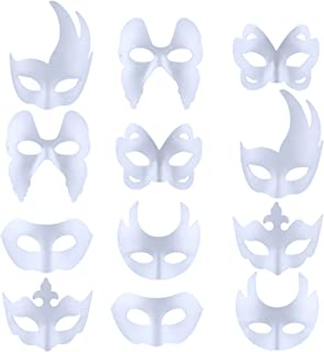 White Masks, 12PCS DIY Unpainted Masquerade Masks Plain Half Face Masks