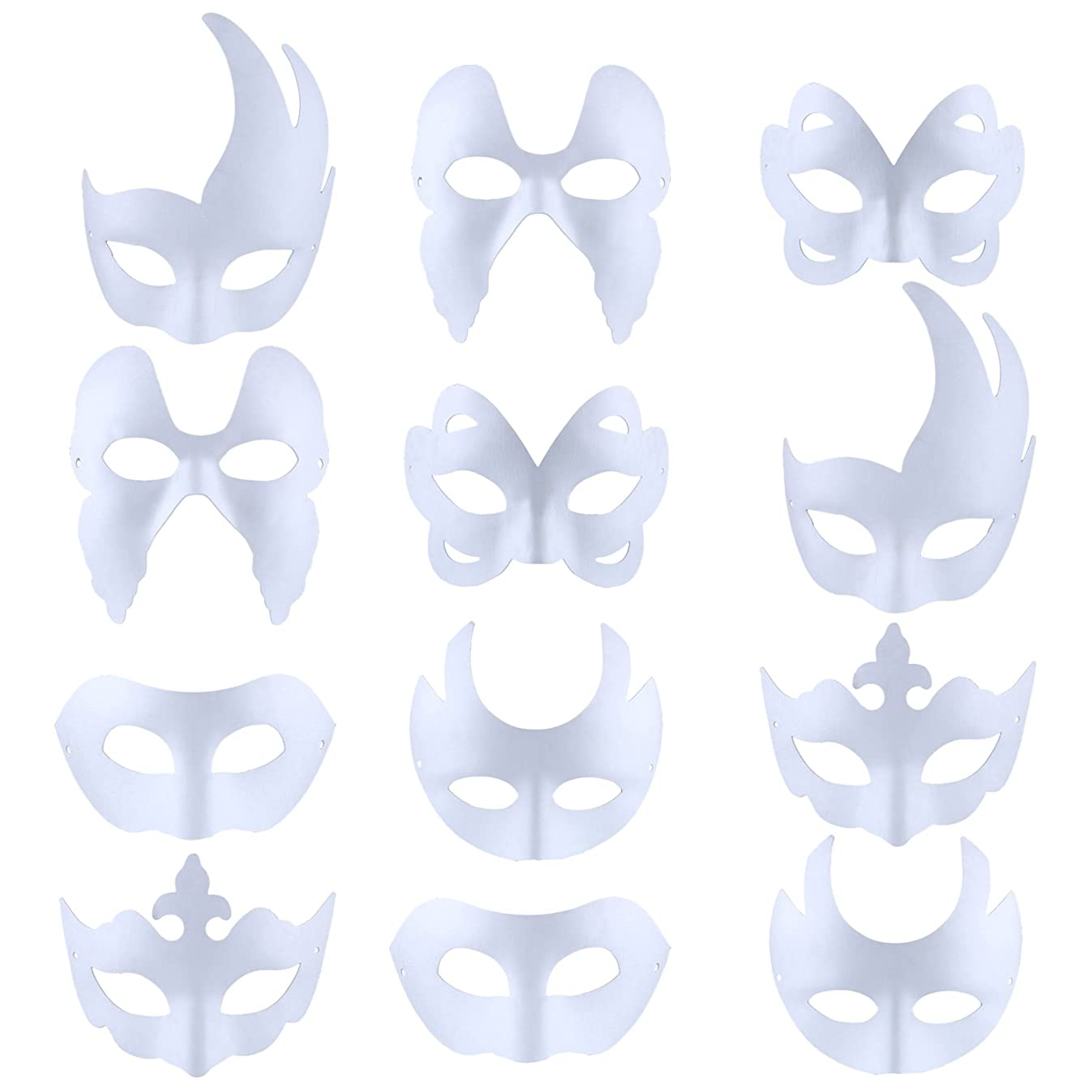 Funpa 12PCS Paper Face Mask Costume Mask DIY Cosplay Mask Half Dance Mask for Party