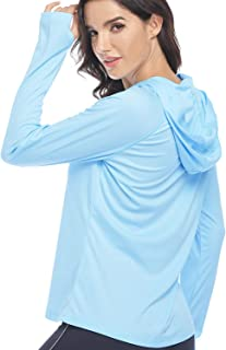 HISKYWIN Womens UPF 50+ Sun Protection Hoodie Long Sleeve Yoga Clothes Performance T-Shirt Athletic Top with Thumb Holes