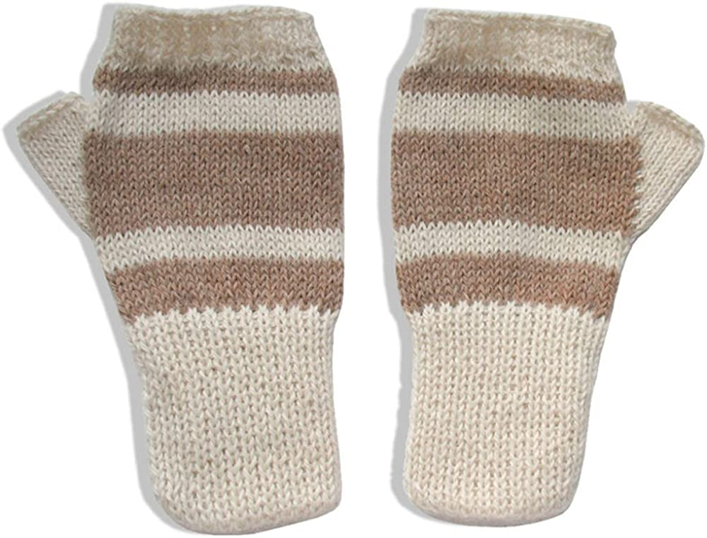 The Alpaca Collection, 100% Alpaca Wool Fingerless Gloves Off-White/Beige Small