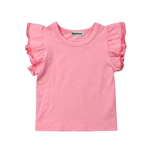 411acc7a8ad Mubineo Toddler Baby Girl Basic Plain Ruffle Sleeve Cotton T Shirts Tops  Tee Clothes