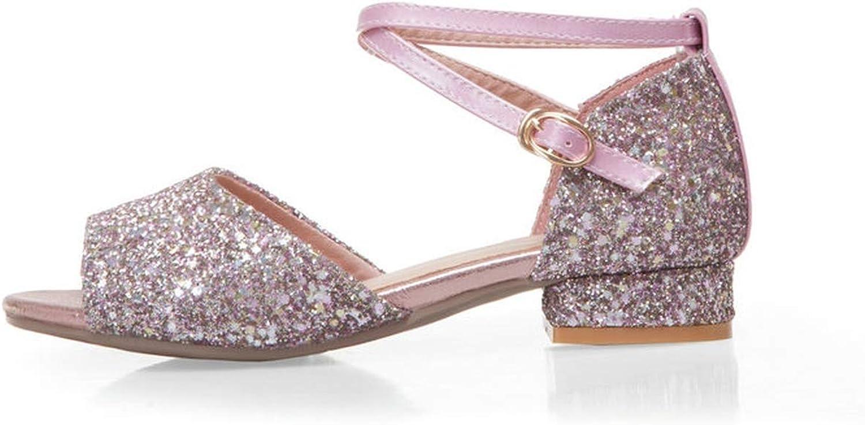 Sandals Coarse Middle Heel Bling Peep Toe Sequins Pu Ankle Strap Buckle Summer Women Pumps 34-43