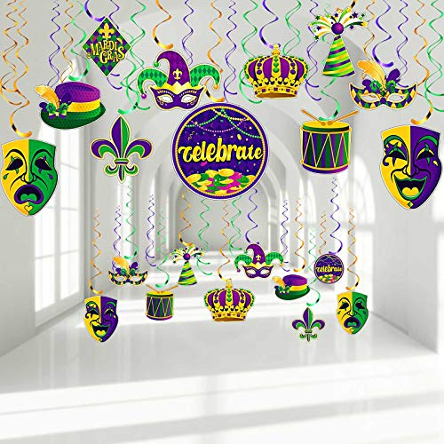 30 Pieces Mardi Gras Party Hanging Swirl Decorations, Gold Green Purple Garland Crown Mask Sign Foil Hanging Swirls Ceiling Decor for Mardi Gras Masquerade Party New Orleans Theme Party Supplies