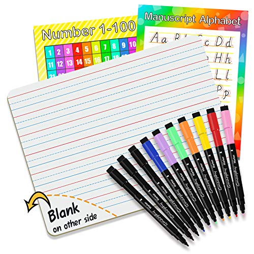 """Dry Erase Board, Small Dry Erase White Board 9""""X12"""" with 10 Pcs Dry Erase Markers & 2 Pcs Educational Posters, Double Sided Dry Erase Lapboard with Lines/White Board, Mini Whiteboards for Kids"""