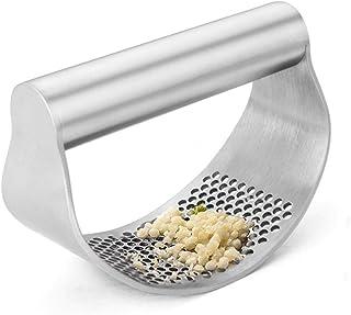 SALATEILY Prensa de ajo manual de molienda fácil de limpiar, acero inoxidable plateado con cepillo curvado, jengibre ajo t...
