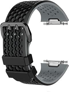 SHEAWA Fitbit Ionic用 バンド 交換バンド ベルト シリコンバンド スポーツバンド 通気性に優れ おしゃれ (ブラック+グレー L)