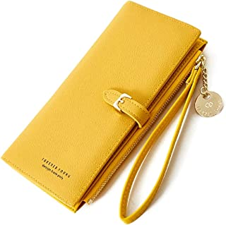 Oulm Yellow Wallet with Phone Pocket for Women & Girls - (WA-5)
