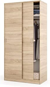 PEGANE Armoire avec 2 Portes Coulissantes décor chêne Canadien - Dim : L 100 cm x H 200 x P 50 cm
