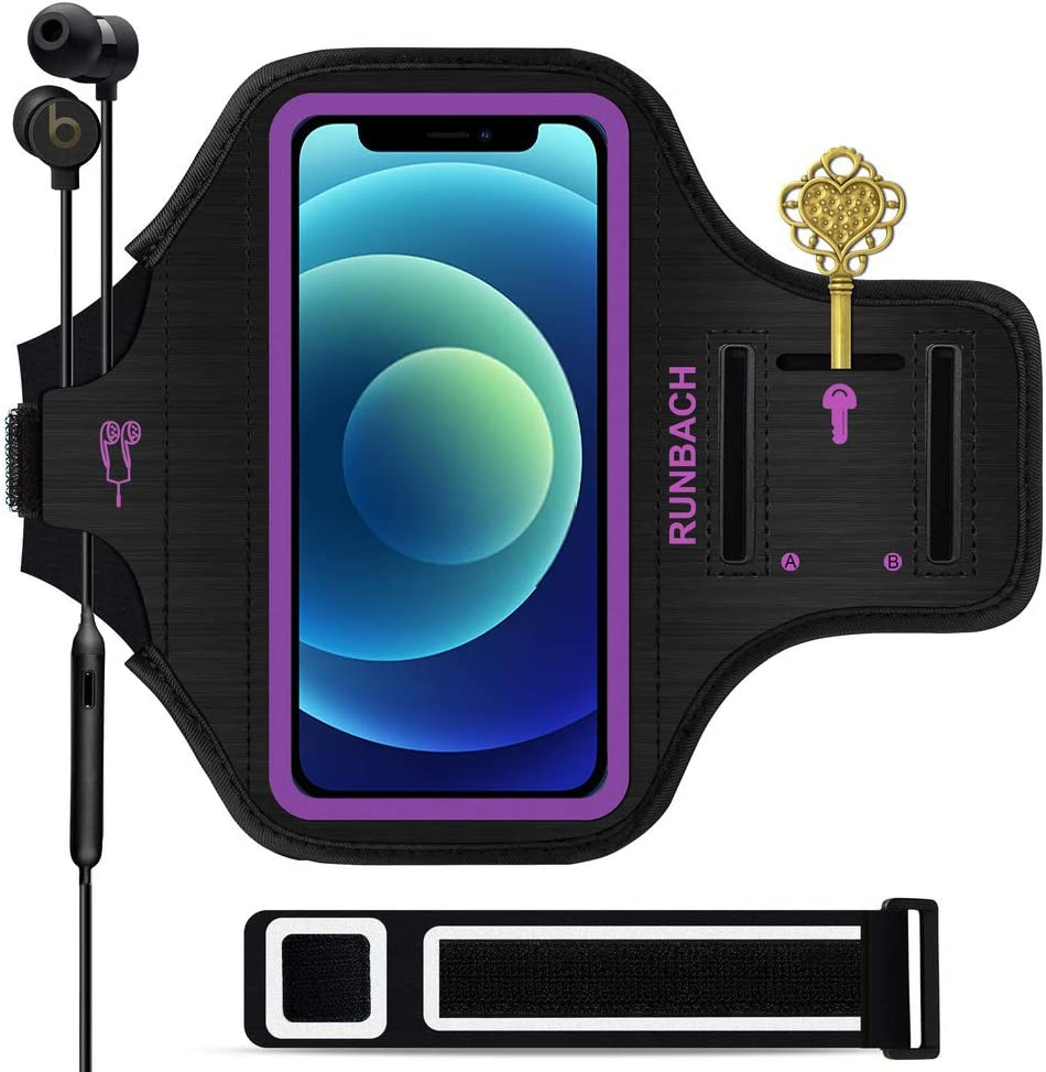 RUNBACH Armband for iPhone 12 Mini/iPhone 11 Pro/iPhone X/XS,Sweatproof Running Exercise Gym Bag with Card Slot for iPhone 11 Pro/12 Mini/X/XS(Purple)