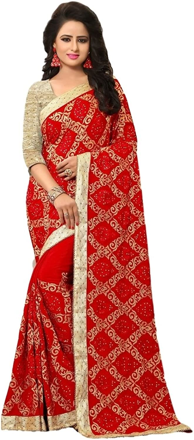 EthnicWear Beautiful Karwa Chouth Red color Crape Festival Wear Traditional Embroider Lace Border Saree Sari