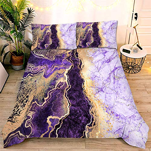 Marble Comforter Set Queen Purple,3-Pieces Microfiber Bedding Abstract Artwork Watercolor Ultra Soft Quilt for All Seasons