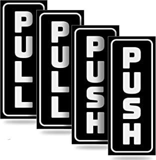 """Push Pull Door Vertical Stickers Sign – 2 Pack 2""""x5"""" in, Back Self-Adhesive Black & White Vinyl Sticker for Business, Stores, Cafes, Shops & More. Indoor and Outdoor use."""