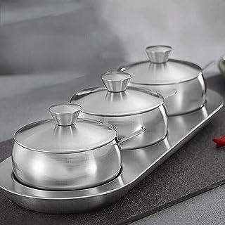 SPNEC Cuisine en Acier Inoxydable Assaisonnement contenants à épices Pot à épices Condiments Cruet Organisateurs de Boutei...
