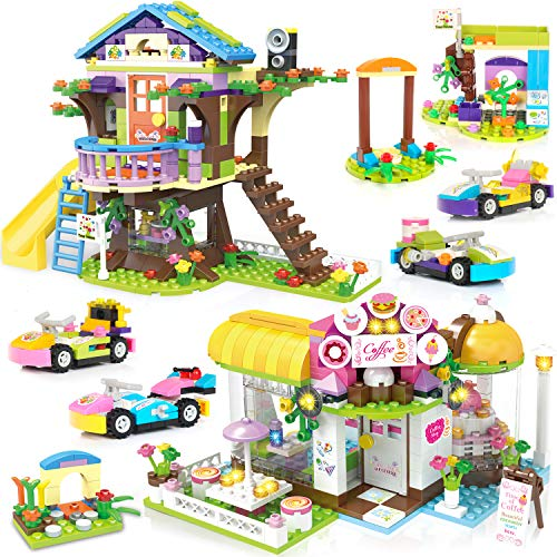 Coffee House Tree House Creative Building Toy Set for Kids, Best Learning and Roleplay Gift for Girls and Boys with Storage Box (960 Pieces)