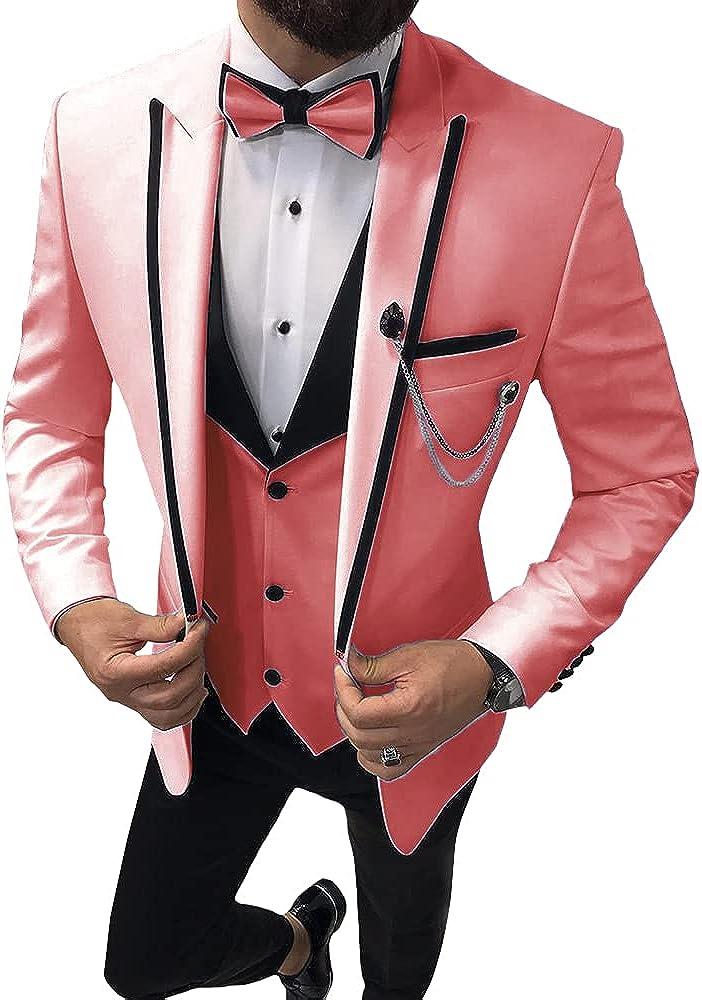4 Pieces Fashion Best Men's Suits Peak Lapel Slim Fit Prom Tuxedos Groomsmen Wedding