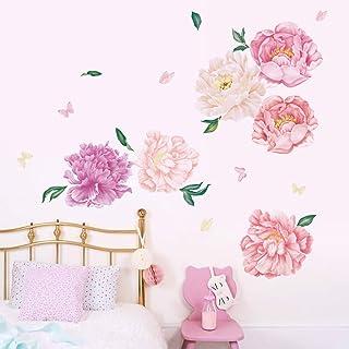Runtoo Pegatinas de Pared Flores Stickers Adhesivos Vinilo Peonía Rosa Decorativas Salon Dormitorio Habitacion Bebe