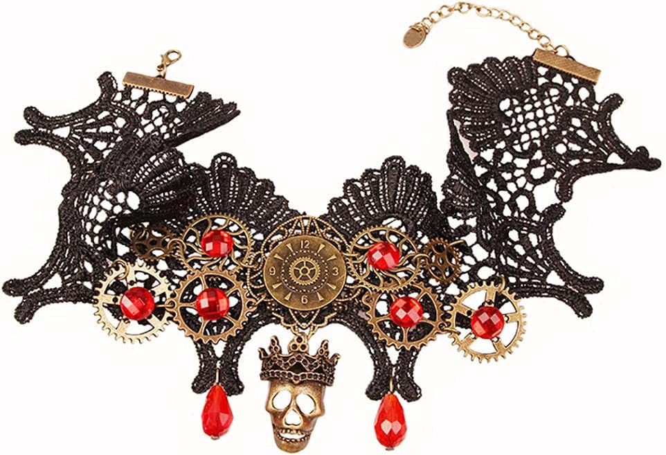 Choker Gothic Button Collar Necklace Vintage Gear lace Necklace Charm Necklace Gothic Style Jewelry for Women Party
