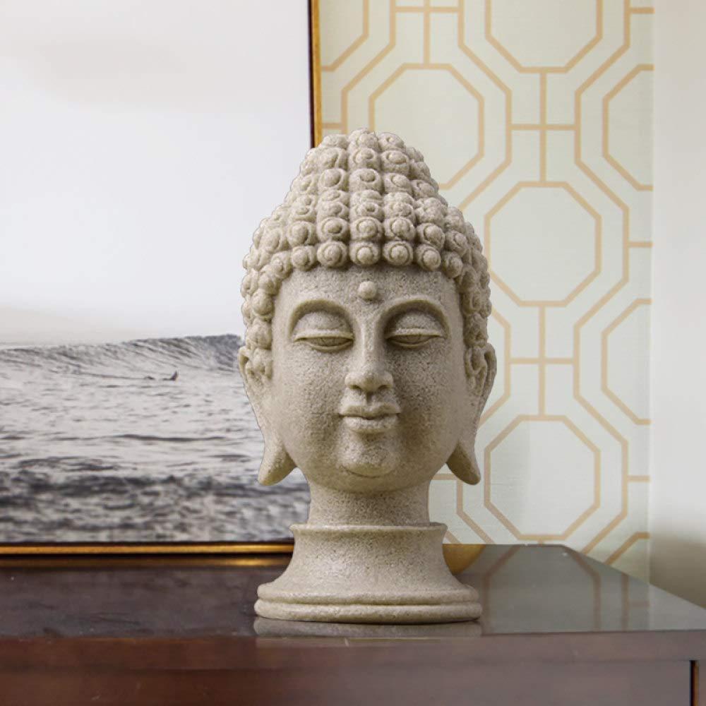 DIAOSUJIA - Figura de Buda chino para jardín, resina, cabeza de Buda grande, piedra arenisca, decoración buda: Amazon.es: Hogar