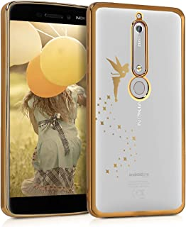 kwmobile Crystal TPU Case for Nokia 6.1 (2018) - Soft Flexible Transparent Silicone Protective Cover - Gold/Transparent