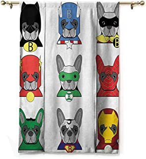 Lifable Curtain Superhero,Bulldog Superheroes Fun Cartoon Puppies in Disguise Costume Dogs with Masks Artprint,Multicolor,23