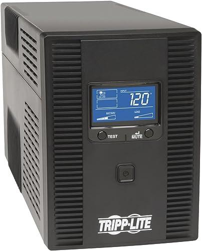 Tripp Lite 1500VA UPS LCD Battery Back Up Tower AVR 120-Volt USB Coaxial RJ45, Black (OMNI1500LCDT)