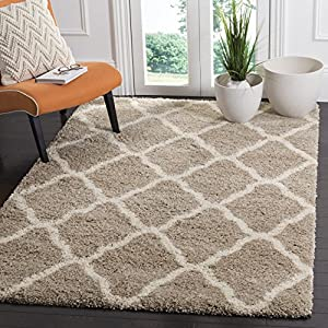 SAFAVIEH Hudson Shag Collection SGH283S Moroccan Trellis Non-Shedding Living Room Bedroom Dining Room Entryway Plush 2-inch Thick Area Rug, 6′ x 9′, Beige / Ivory