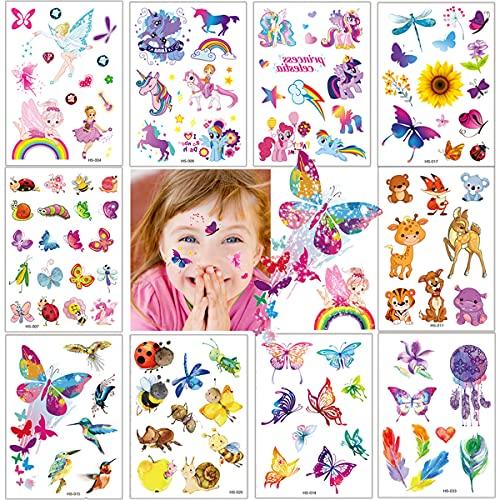 Tattoo Kinder, Glitzer Temporäre Tattoos Kinder, Tattoos für Kinder,Cartoon Tattoos Set Einhorn Schmetterling,Wasserdicht Tattoo für Mädchen und Jungen in Festival Party Geschenk Mitgebsel Dekoration