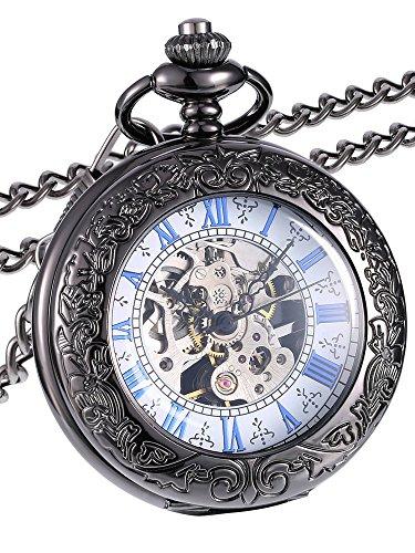 Reloj de Bolsillo Mecánico de Cubierta de Lupa con Escala Azul (Negro