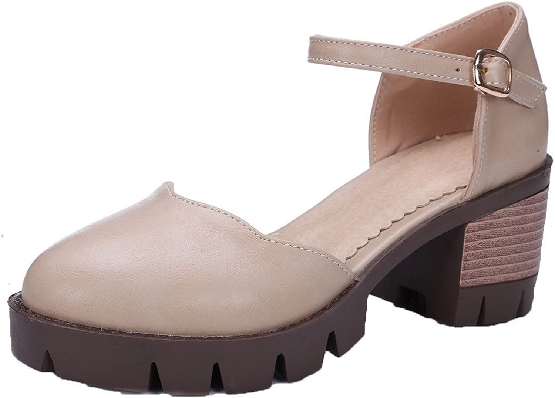 WeiPoot Women's Closed Toe Kitten-Heels PU Solid Buckle Sandals