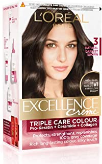 L'Oreal Paris Excellence Creme Hair Color, 3 Natural Darkest Brown, 72ml+100g