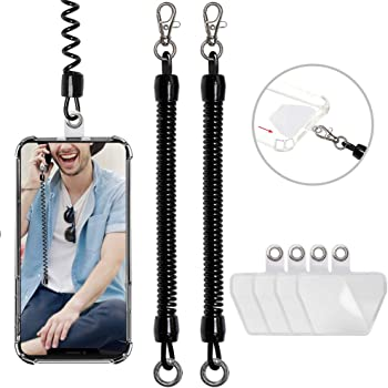 takyu Cell Phone Lanyard, 2 Pack Phone Tether with 4 Pcs Detachable Fabric Pad Compatible with Most Smartphones in Full Coverage Case (Black Black)