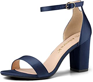 Women's Satin Open Toe Ankle Strap Chunky Heels Sandals