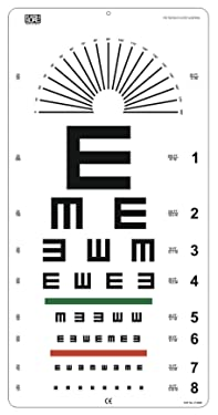 """Illiterate Landolt""""E"""" Charts with Red/Green Lines & Astigmatism Chart 20 Feet"""
