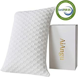 AiAngu Memory Foam Pillow for Sleeping Shredded Bed Bamboo Cooling Pillow with Adjustable Loft 3D Design Hypoallergenic Washable Removable Derived Rayon Zip Cove (King)