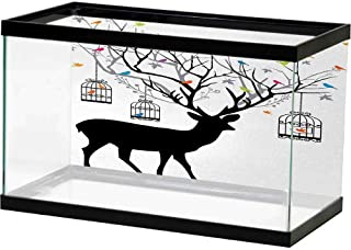 bybyhome Aquarium Fish Tank Antlers,Deer with Colorful Birds and Birdcages Silhouette Ornament Vintage Style Print,Multicolor PVC Adhesive