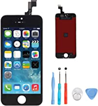 YXIN iPhone 5S Screen Replacement,LCD Touch Screen Digitizer Display Frame Aseembly Full Set with Free Tools Kit for iPhone 5S Black