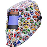 Antra AH7-X80-7331 Digital Controlled Solar Powered Auto Darkening Welding Helmet Wide Shade 4/5-9/9-13 with Grinding Feature Extra Lens CoversGreat for TIG, MIG, MMA, Plasma