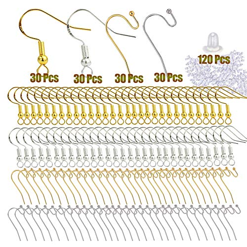 120PCS/60 Pairs 925 Hypo-allergenic Earring Hooks, Sterling Silver Earring Fish Hook with Ear Wires Wire Hooks Jewelry Findings Earring Parts DIY Making with 120PCS Clear Rubber Earring Safety Backs