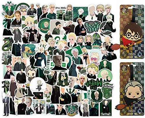 100 Pcs Wizard Stickers with 2 Pcs Luggage ID Tags Draco Malfo y Stickers Decals Waterproof product image